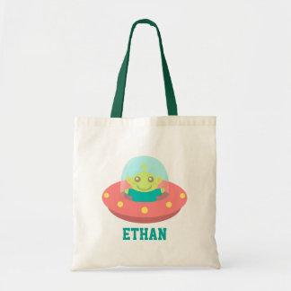 Cute Alien in Spaceship, Outer Space Tote Bag