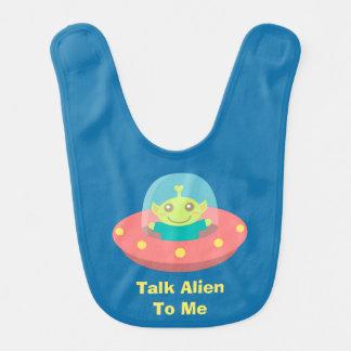 Cute Alien in Spaceship, Outer Space Baby Bib