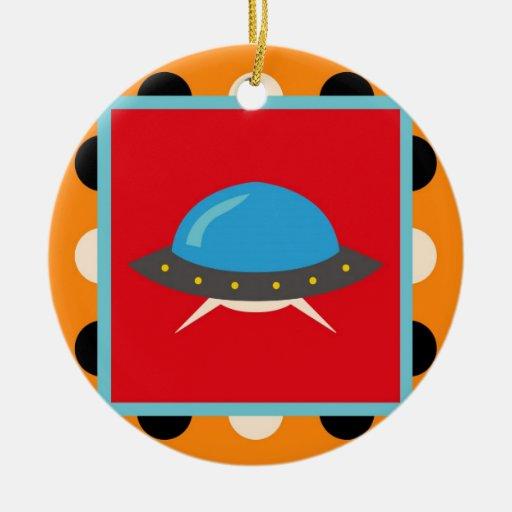 Cute Alien UFO Space Ship Unique Kids Gifts Ceramic Ornament