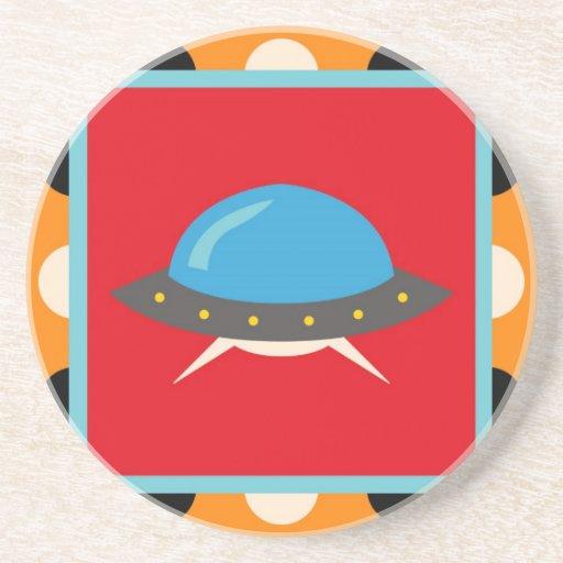 Cute Alien UFO Space Ship Unique Kids Gifts Beverage Coaster