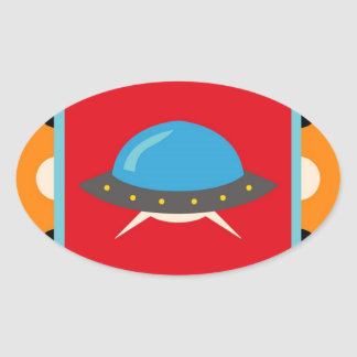 Cute Alien UFO Space Ship Unique Kids Gifts Oval Sticker