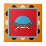 Cute Alien UFO Space Ship Unique Kids Gifts Tile
