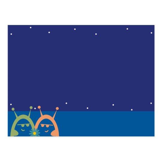 cute aliens with flower love evil marketing postca postcard