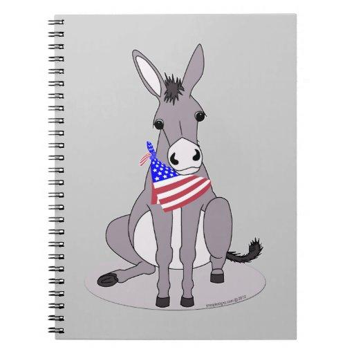 Cute All American Flag Bandana Donkey Spiral Note Books