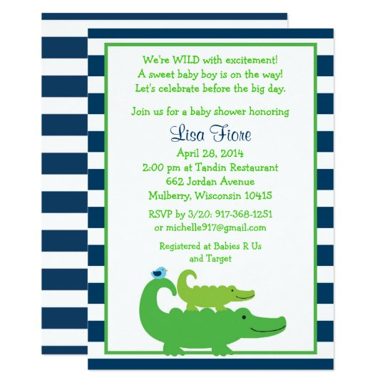 Cute Alligator Baby Shower Invitation