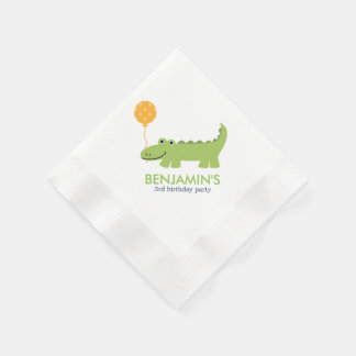 Cute Alligator Birthday Napkin
