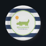 "Cute Alligator Birthday Paper Plate<br><div class=""desc"">Adorable birthday party plates feature a cute illustration of a smiling alligator on a stripes background and can be personalized with your child&#39;s name or message of your choice.</div>"