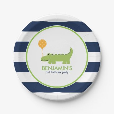 heartlocked Cute Alligator Birthday Paper Plate
