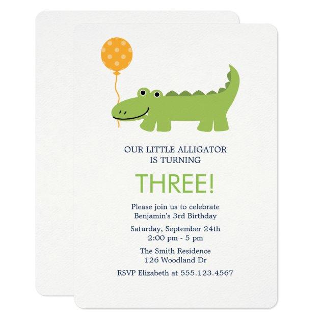 Cute alligator birthday party invitation filmwisefo