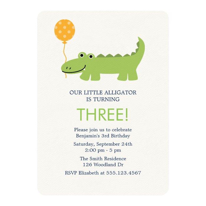 Cute Alligator Birthday Party Card | Zazzle
