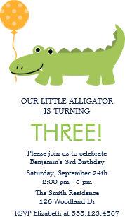 With alligator birthday invitations zazzle cute alligator birthday party invitation filmwisefo