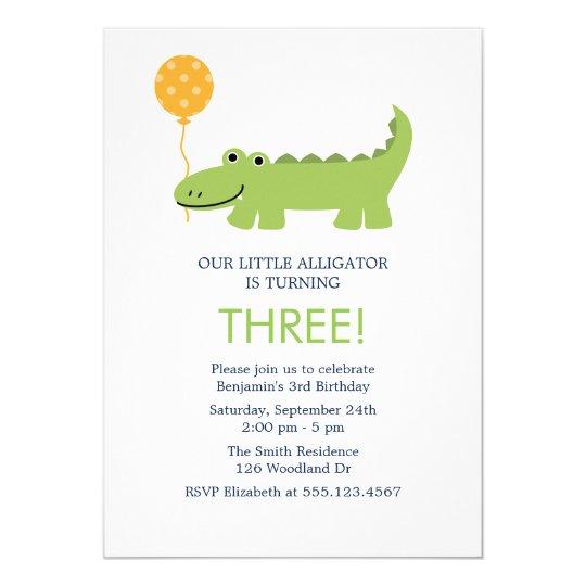 Cute Alligator Birthday Party Invitation Zazzle Com