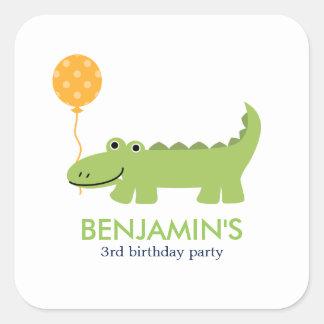 Cute Alligator Birthday Square Sticker