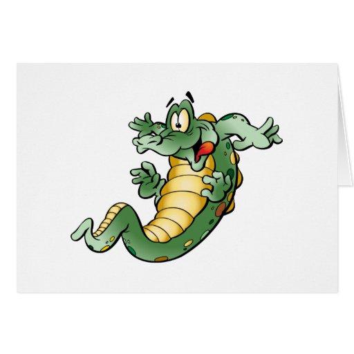 Cute Alligator Cartoon Greeting Card
