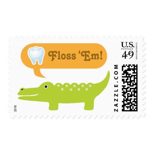 Cute Alligator Floss Dental Hygiene Postage Stamp