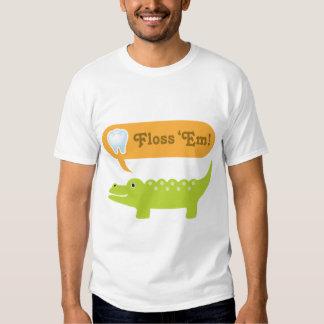 Cute Alligator Floss Dental Hygiene Tee Shirt