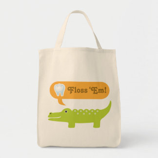Cute Alligator Floss Dental Hygiene Tote Bag