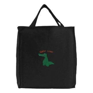 Cute Alligator Gator Embroidery Design Canvas Bags