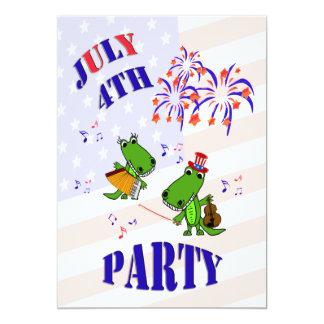 Cute Alligator July 4 Party Invitation