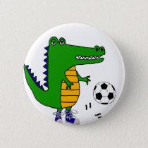 Cute Alligator Playing Soccer or Football Cartoon Pinback Button