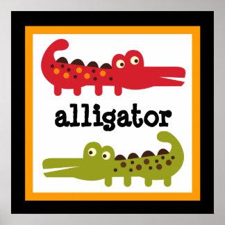 Cute Alligator Safari Animals Baby Kids Poster