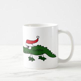 Cute Alligator Wearing Christmas Hat Coffee Mug