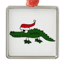 Cute Alligator Wearing Christmas Hat Metal Ornament