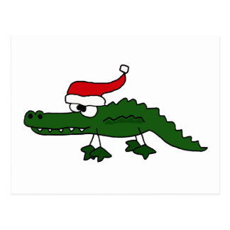 Cute Alligator Wearing Christmas Hat Post Cards
