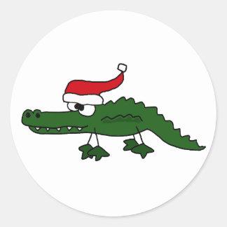 Cute Alligator Wearing Christmas Hat Round Stickers