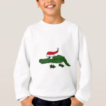 Cute Alligator Wearing Christmas Hat Sweatshirt