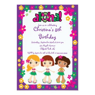Cute Aloha Luau Birthday Party Invitations