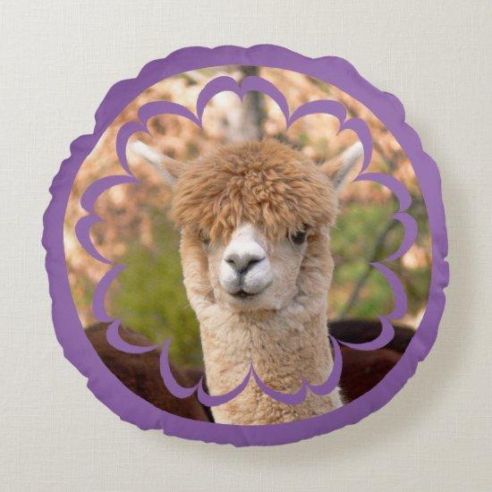 Cute Alpaca Birthday Round Pillow
