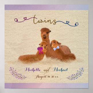 Cute Alpaca Boy Girl Twin Poster