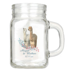 Cute Alpaca Country Wedding Mason Jar at Zazzle