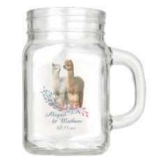 Cute Alpaca Country Wedding Mason Jar at Zazzle