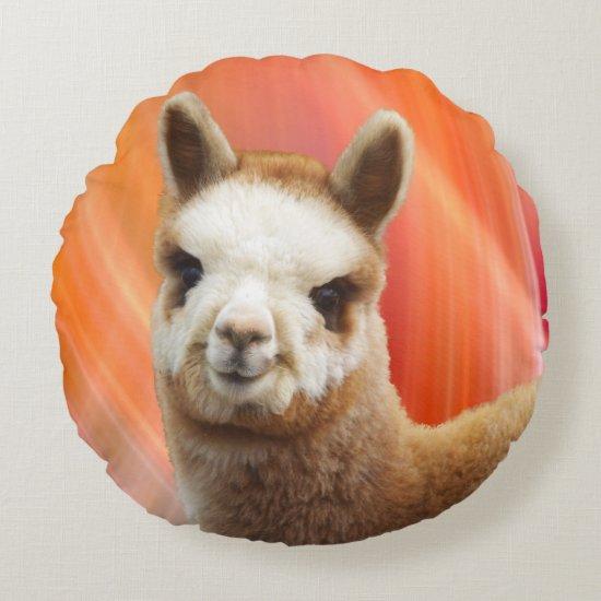 Cute Alpaca Round Pillow