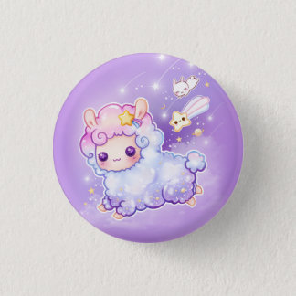 Cute alpaca with kawaii shooting star button