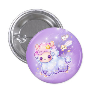 Cute alpaca with kawaii shooting star button