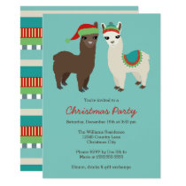 Cute Alpacas Christmas Party Invitation