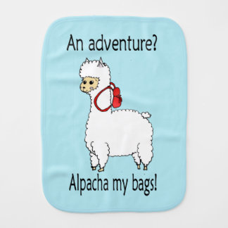 Cute alpacha adventure pun baby burp cloth