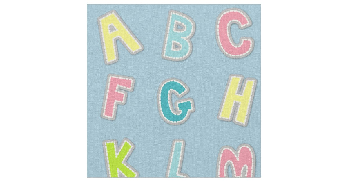 Cute alphabet themed nursery print fabric for Nursery print fabric