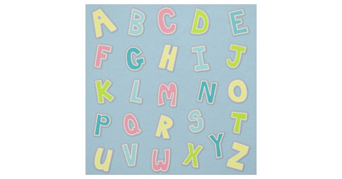 Cute Alphabet Themed Nursery Print Fabric   Zazzle