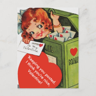 Cute Altered Vintage Girl in Mailbox Valentine Holiday Postcard