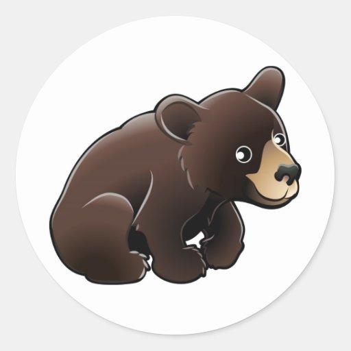 cute American Black Bear Round Stickers