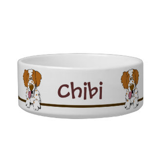 Cute American Brittany Spaniel Dog Custom Pet Bowl Cat Food Bowl