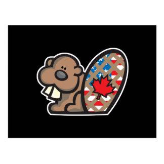 cute american canadian beaver postcard