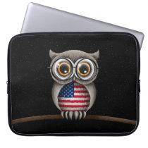 Cute American Flag Owl Wearing Glasses Computer Sleeve