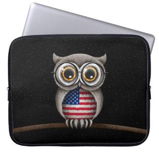 Cute American Flag Owl Wearing Glasses Laptop Sleeve
