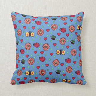 Cute American MoJo Pillow with Flowers and Butterf