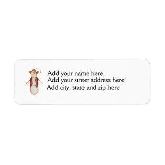 Cute Americana Christmas Cowboy Snowman Return Address Label